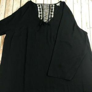 Avenue Womens Black Bell Sleeve Sheer Blouse